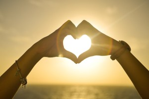 Good Morning My Love Images Sunshine Hand in Heart Shape