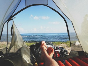 Good Morning Wallpaper_View of Ocean Camping